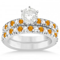 Citrine & Diamond Accented Bridal Set 14k White Gold 1.14ct