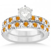 Citrine & Diamond Bridal Set Setting 18k White Gold 1.14ct