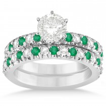 Emerald & Diamond Bridal Set Setting 14k White Gold 1.14ct
