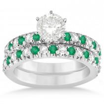 Emerald & Diamond Bridal Set Setting 18k White Gold 1.14ct