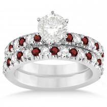 Garnet & Diamond Bridal Set Setting 14k White Gold 1.14ct
