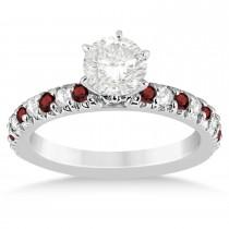 Garnet & Diamond Accented Bridal Set 14k White Gold 1.14ct