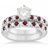 Garnet & Diamond Bridal Set Setting 18k White Gold 1.14ct