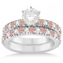 Morganite & Diamond Accented Bridal Set 14k White Gold 1.14ct