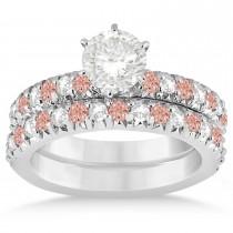 Morganite & Diamond Accented Bridal Set Palladium 1.14ct
