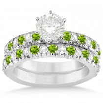 Peridot & Diamond Bridal Set Setting 14k White Gold 1.14ct