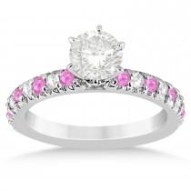Pink Sapphire & Diamond Accented Bridal Set 14k White Gold 1.14ct