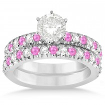 Pink Sapphire & Diamond Accented Bridal Set 18k White Gold 1.14ct