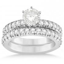 Diamond Accented Bridal Set Setting Platinum 1.14ct
