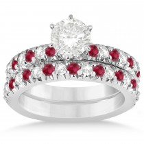 Ruby & Diamond Accented Bridal Set 14k White Gold 1.14ct
