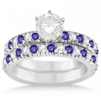 Tanzanite & Diamond Accented Bridal Set 18k White Gold 1.14ct