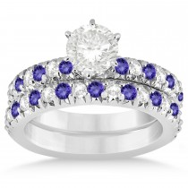 Tanzanite & Diamond Accented Bridal Set Palladium 1.14ct