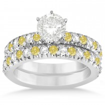 Yellow Diamond & Diamond Bridal Set Setting 14k White Gold 1.14ct