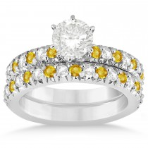 Yellow Sapphire & Diamond Bridal Set Setting 14k White Gold 1.14ct