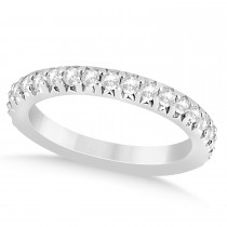 Diamond Accented Wedding Band Setting 14k White Gold 0.60ct