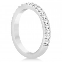 Diamond Accented Wedding Band Setting 18k White Gold 0.60ct