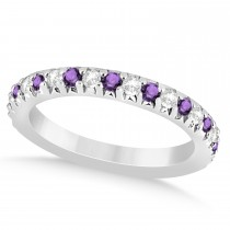 Amethyst & Diamond Accented Wedding Band Setting 14k White Gold 0.60ct