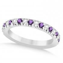 Amethyst & Diamond Accented Wedding Band Setting Platinum 0.60ct