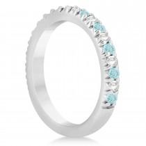 Aquamarine & Diamond Accented Wedding Band Setting 14k White Gold 0.60ct