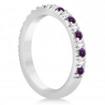 Alexandrite & Diamond Accented Wedding Band Setting 14k White Gold 0.60ct
