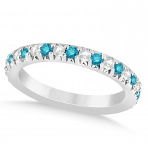 Blue Diamond & Diamond Accented Wedding Band Palladium 0.60ct