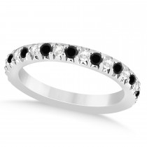 Black Diamond & Diamond Accented Wedding Band 18k White Gold 0.60ct