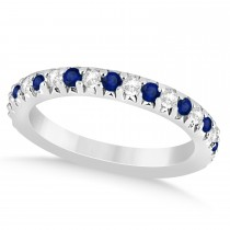 Blue Sapphire & Diamond Accented Wedding Band 18k White Gold 0.60ct