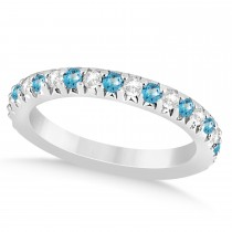 Blue Topaz & Diamond Accented Wedding Band 14k White Gold 0.60ct