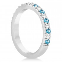 Blue Topaz & Diamond Accented Wedding Band Setting 14k White Gold 0.60ct