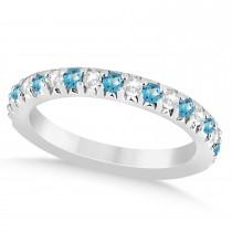 Blue Topaz & Diamond Accented Wedding Band Palladium 0.60ct