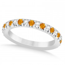Citrine & Diamond Accented Wedding Band Setting 14k White Gold 0.60ct