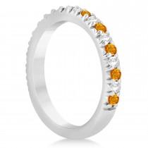 Citrine & Diamond Accented Wedding Band Setting 14k White Gold 0.60ct