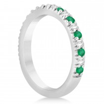 Emerald & Diamond Accented Wedding Band 14k White Gold 0.60ct