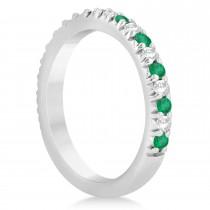 Emerald & Diamond Accented Wedding Band Setting 14k White Gold 0.60ct