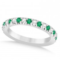 Emerald & Diamond Accented Wedding Band 18k White Gold 0.60ct