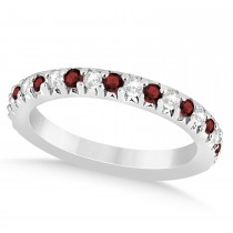 Garnet & Diamond Accented Wedding Band 14k White Gold 0.60ct