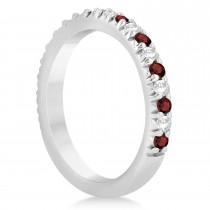 Garnet & Diamond Accented Wedding Band Setting 14k White Gold 0.60ct