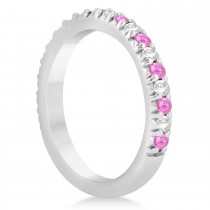 Pink Sapphire & Diamond Accented Wedding Band Setting 14k White Gold 0.60ct