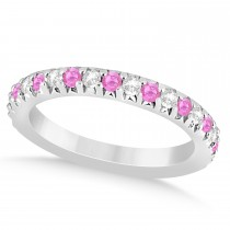 Pink Sapphire & Diamond Accented Wedding Band 18k White Gold 0.60ct