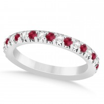 Ruby & Diamond Accented Wedding Band 18k White Gold 0.60ct