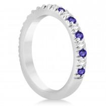 Tanzanite & Diamond Accented Wedding Band Setting 14k White Gold 0.60ct