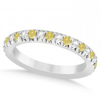 Yellow Diamond & Diamond Accented Wedding Band 14k White Gold 0.60ct