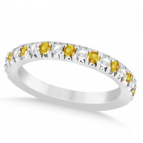 Yellow Sapphire & Diamond Accented Wedding Band 14k White Gold 0.60ct