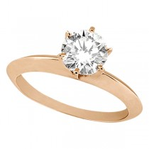 Knife Edge Six-Prong Solitaire Engagement Ring Setting 18k Rose Gold