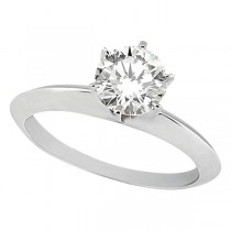 Knife Edge Six-Prong Solitaire Engagement Ring Setting 18k White Gold