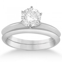 Six-Prong Knife Edge Solitaire Engagement Ring Set 14k White Gold