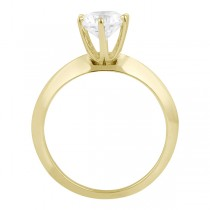 Six-Prong Knife Edge Solitaire Engagement Ring Set 18k Yellow Gold