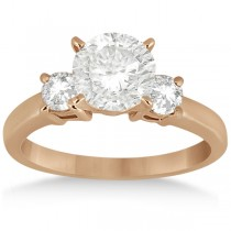 Three Stone Diamond Engagement Ring Setting 14K Rose Gold (0.50ct)