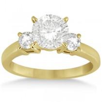 Three Stone Diamond Engagement Ring Setting 18K Yellow Gold (0.50ct)