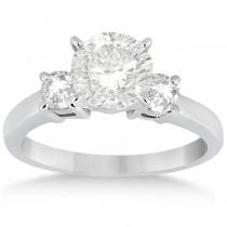 Three Stone Diamond Engagement Ring Setting Polished Platinum 0.50ct)